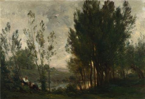 Gold Hill Flush Fixture (Oil Painting 'Charles-Franois Daubigny - Willows,1872 Or 1874', 8 x 12 inch / 20 x 30 cm , on High Definition HD canvas prints is for Gifts And Bar, Bed Room And Living Room Decoration)