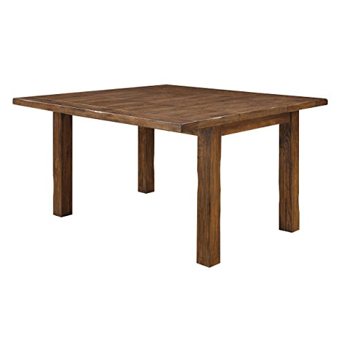 Emerald Home Chambers Creek Brown Gathering Height Dining Table with Self Storing Butterfly Extension Leaf And Straight Timber Legs (Leg Extension Table Rectangular)