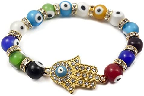 Nazareth Store Hamsa Hand Bracelet Agate Crystals Colorful Evil Eye Beads Judaism Israel Luck Charm Amazon Sg Fashion