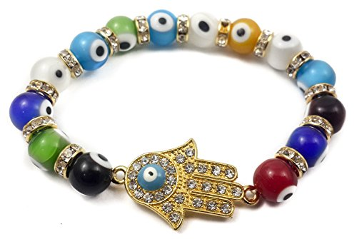 Nazareth Store Hamsa Hand Bracelet Agate Crystals Colorful Evil Eye Beads Judaism Israel Luck Charm