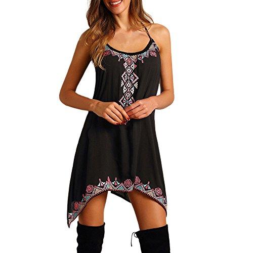 Changeshopping Boho Sexy Fashion Women Sleeveless Party Summer Beach Mini Dress (XXL)