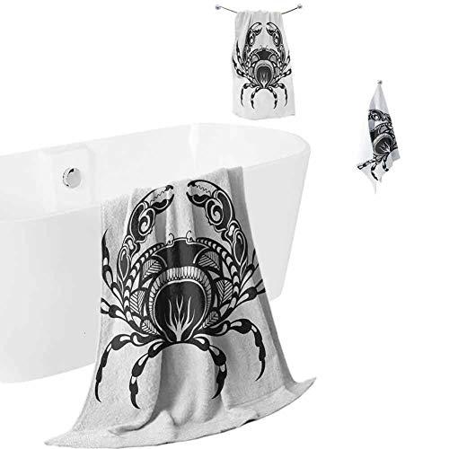 hengshu Crabs Microfiber Towel Sets for Bathroom Artistic Design of an Aquatic Arthropod Marine Biology Underwater Wildlife Inspired Luxury Bath Towels Washcloths Black White