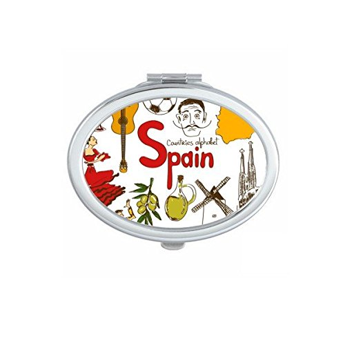 Spain Landscape Customs Landmark Animals National Flag Resident Diet Illustration Pattern Oval Compact Makeup Pocket Mirror Portable Cute Small Hand Mirrors by DIYthinker