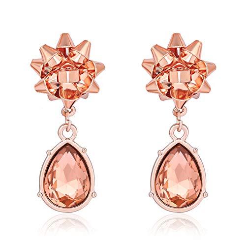 - PHALIN JELWERY Christmas Bow Earrings for Women X-Mas Gift Bow Earrings Festive Dangle Earrings Studs for Girls (D Rose Gold)