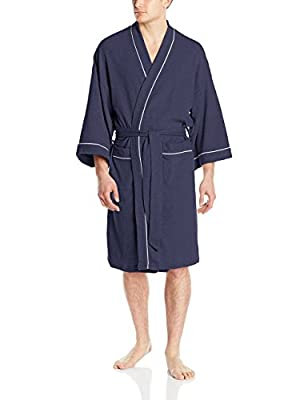WULFUL Men's Cotton Lightweight Bathrobe Waffle-Knit Kimono Robe Soft Spa Bathrobe Nightgown Sleepwear