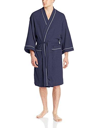 WULFUL Men's Cotton Lightweight Bathrobe Waffle-Knit Kimono Robe Soft Spa Bathrobe Nightgown Sleepwear Navy-L by WULFUL