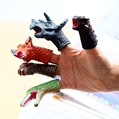 AGAWA Brain Teasers, 10 Pcs PVC Simulation Dinosaur Finger Puppets Kids Interactive Toy Doll Finger Puppets Baby Early Educational Hand Story Toys: Toys & Games