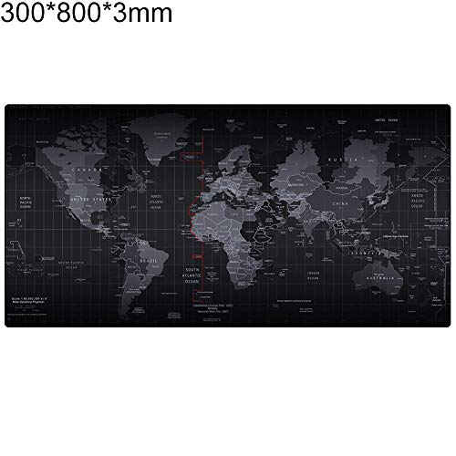 (Shentesel Anti-Slip Keyboard Mouse Pad Table Mat Large World Map Printed 3mm Rubber Base - 300mm x 800mm x 3mm)