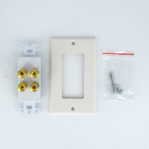 Theater Solutions WP2 Home Theater Speaker Wire Wall Plate 2 Speaker 4 Binding Posts