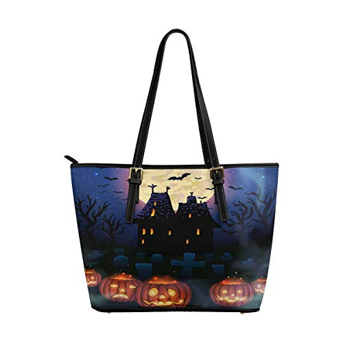 InterestPrint Fashion Women's PU Leather HandBags Ladies Shoulder Bags Tote Bags Halloween Wicked House with ()