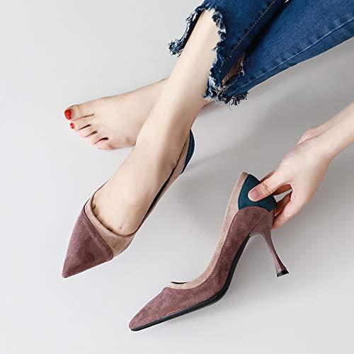 Yukun Talons hauts Chaussures Simples Pointu Femme Automne Petits Chaussures Talons Frais Fille Sauvage Chaussures Petits À Talon Aiguille Chat 38|Light Brown ee0b19