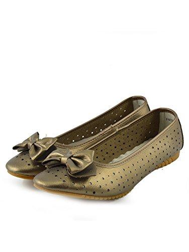 en Ladies cuir confortable marche Footwear Ballerina bronze Kick qRwxSZ4X