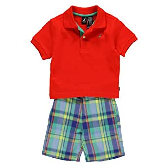 Nautica Baby Boys Polo Short Set (18 Months, Red)