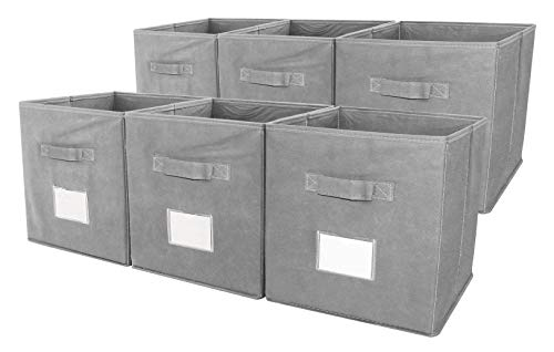 TQVAI Foldable Storage Cubes Closet Bins with Label Holder and Handle, 6 Pack, Grey