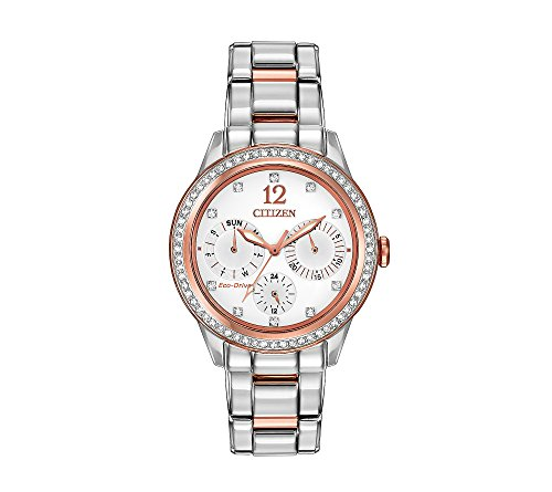 Citizen Women's Eco-Drive Two-Tone Pink Goldtone Silhouette Crystal Watch