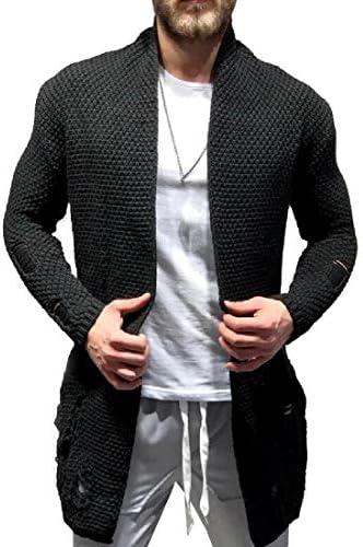 メンズショールカラーカーディガンセーターオープンフロントケーブルニットリブジャケットポケット付き