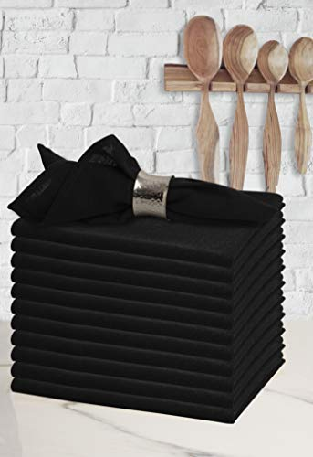 Glamburg Dinner Napkins in Black Color Solid Plain Fabric-18X18,Wedding Napkin,100% Cotton Napkins,Cocktail Napkins,Cloth Napkins,Cloth Napkins Set of 12,Check Cloth Napkins,Machine Washable