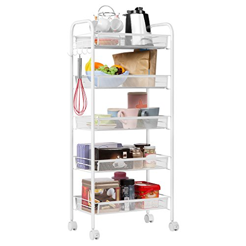 LANGRIA 5-Tier Kitchen Trolley Cart Utility Mesh Wire Shelves on Wheels Spice Rack Storage Rolling Cart, White