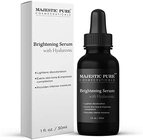 Skin Brightening Serum with Hyaluronic Acid for Face & Skin by Majestic Pure - Moisturizing and Skin Lightening Serum - Reduces Dark Spots, Evens Skin Tone and Improves Complexion - 1 fl oz