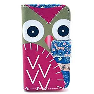 NEW Deer and Owl Pattern PU Leather Case with Card Holder and Stand for Samsung Galaxy I8160
