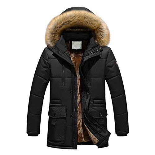 Teresamoon Men Winter Warm Hooded Zipped Thick Solid Fleece Coat Cotton-Padded Jacket (Most Wished & Gift Ideas) (Coat Notched Collar Fur)