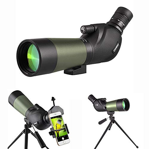 Gosky 20-60X60 Spotting Scope - BAK4 45 Degree Angled Eyepiece Waterproof Scope for Target Shooting Bird Watching Animal Watching Hunting Archery Scenery with Tripod, Phone Adapter and Carrying Bag