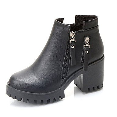 Boots Fashion Chunky For EU38 RTRY Toe Casual Boots US7 Khaki Women'S 5 Round Zipper Shoes Pu CN38 UK5 Black Fall Heel 5 wWrYU0YInq