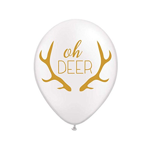 White Oh Deer Balloons, Oh Deer Birthday Party Decorations, Decor, Kids Birthday Party Balloons, Deer Balloons, Wild One Party Decor, Animal Balloons, Set of 3, White and Gold
