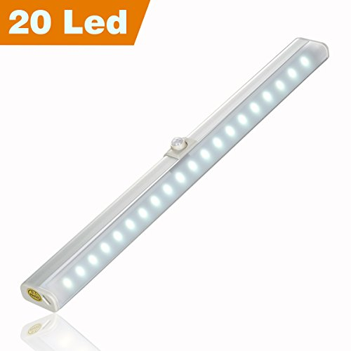 Pantry Lights Motion Sensor Rechargeable Closet Lighting, 20 Led Wireless Wardrobe Light with Innovative 30° Adjustable Sensor, Two Installation Modes, Easy to Install