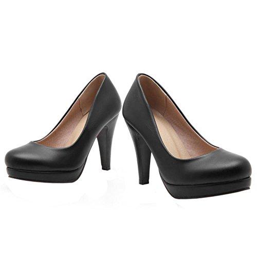 COOLCEPT Damens Basic Office Büro Schuhe Slip on Simple Dress Heels Pumps Black