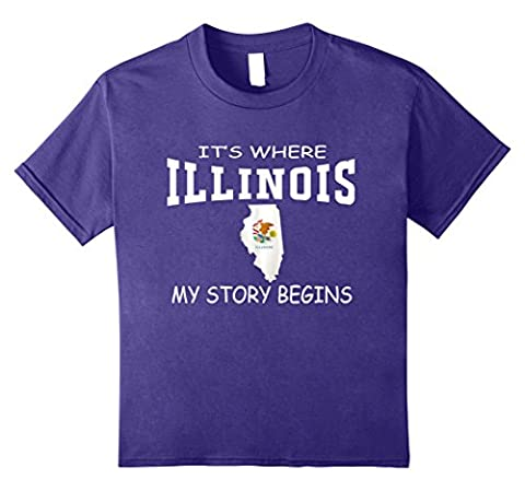 Kids It's Where My Story Begins Illinois State Flag Map Tshirts 10 Purple