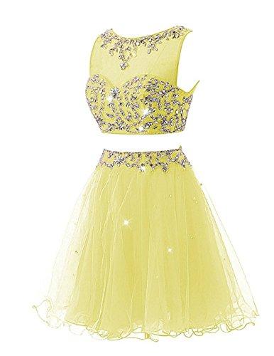 Cocktail Abendkleider Yellow Women's Beaded Kurz Party Ballkleid Fanciest Pieces Two Kleid wx0FqyZXxT