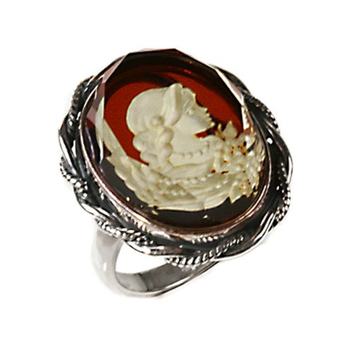 Amber and Sterling Silver Large Cameo Ring Sizes 5,6,7,8,9,10,11,12 by Ian and Valeri Co.