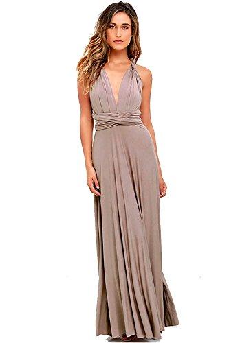 Bridesmaid Brown Dress - Vivicastle Women's Multi Way Wrap Convertible Infinity Long Maxi Dress (Large, Mocha)