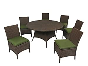 "Creative Living 10093537-RVD Bali 7pc 56"" Round Dining Set with Armless Chairs, Ribbed Verde"