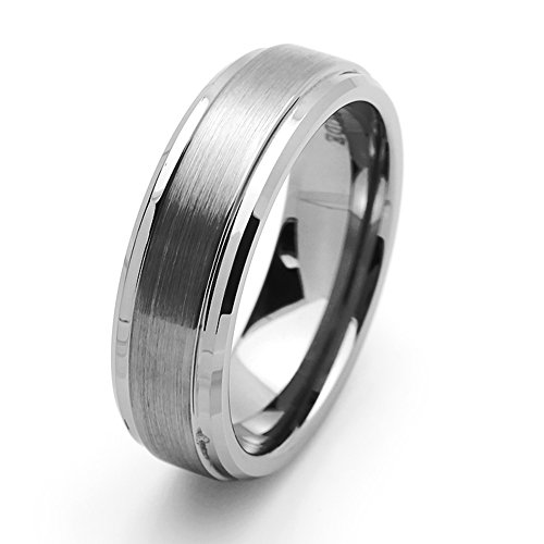 Double Accent 7MM Comfort Fit Tungsten Carbide Wedding Band Beveled Edges (5 to 15), 13 ()