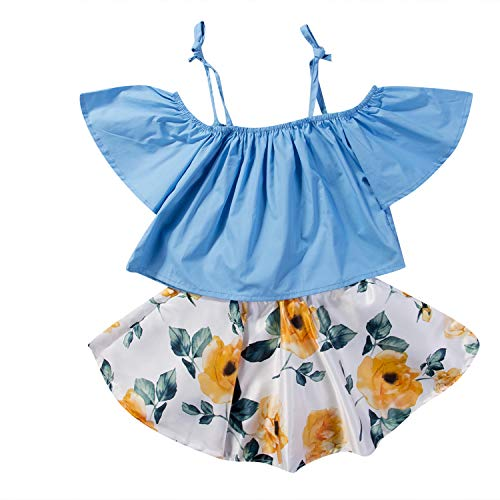 (Summer Toddler Baby Girls Sister Off Shoulder Ruffled Sleeve Tops Floral Skirt 2Pcs Outfits Summer 1-6T(4T,Blue))