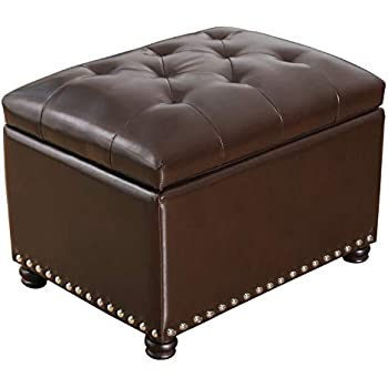Amazon Com Adeco Ft0033 Bonded Leather Square Tufted
