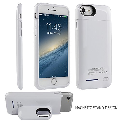 Battery Case for iPhone 8/7 / 6s /6 - i.Valux Slim Protective Rechargeable Extended External Charger Case 3000mAh Power Bank Backup Battery Charging Case Shockproof Bumper with Magnetic Stand (White)
