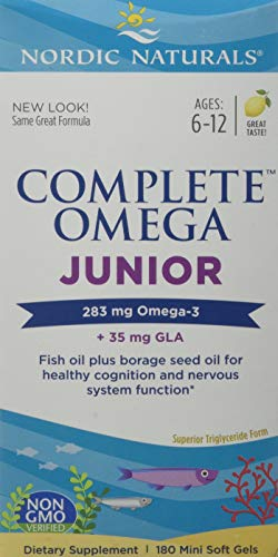 Nordic Naturals - Complete Omega Junior, Promotes Brain, Bone, and Nervous and Immune System Health, 180 Count 500 mg soft gels