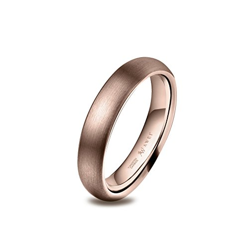 AW Tungsten Rings Matte Brushed Wedding Band - Rose Gold Unisex Comfort Fit Engagement Ring 4mm, Size 8.5 - Brushed Rose