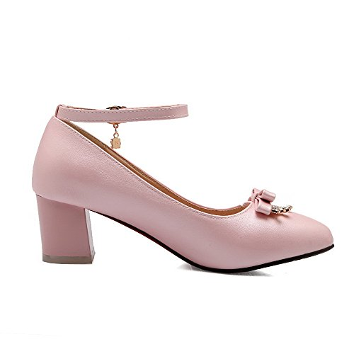 Odomolor Women's Kitten Heels Solid Buckle Pointed Closed Toe Pumps-Shoes Pink 3Tdxl
