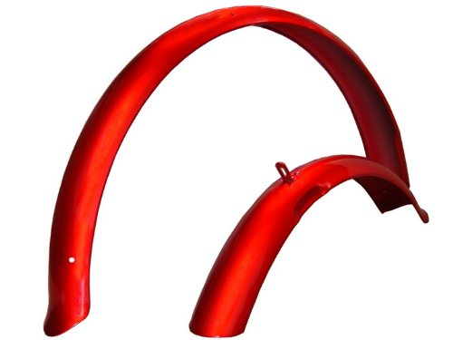 - Firmstrong Beach Cruiser Bicycle Fender Set, Front/Rear, Red, 26