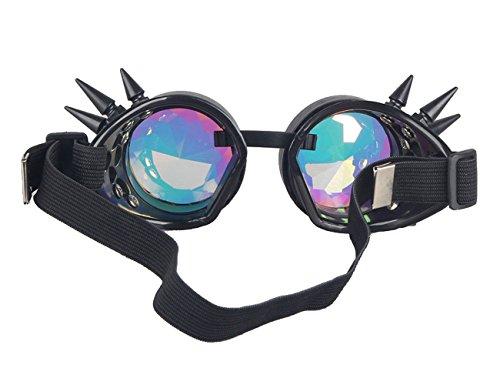 gótico Cosplay Parte Steampunk espejo de Negro Caleidoscopio Halloween Vintage de gafas Remache de al gafas lentes Para viento qw6vw8OX