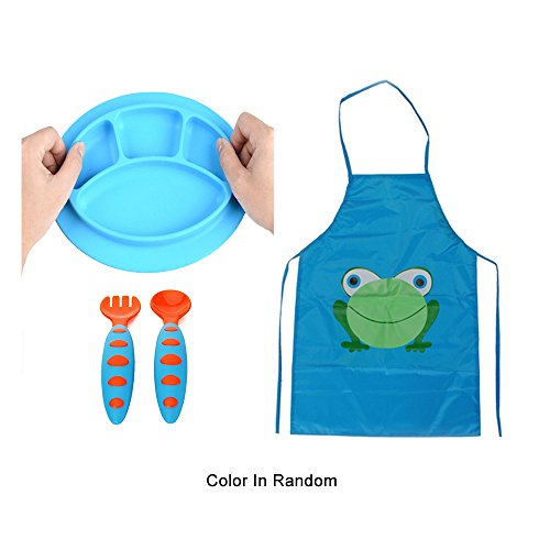 Sealive Toddler Placemat Suction Plate Microwave Safe + Children's Artist Aprons Paint Eat Drink Aprons + 1 set Baby Fork and Spoon Set Infant Weaning Spoons Self-feeding Flatware(Random Color) ()