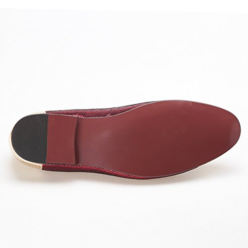 HI&HANN Sheepskin With Front and Back Metal Mens Loafer Shoes Slip-On Loafer Round Toes Smoking Slipper Red C6tjR4N