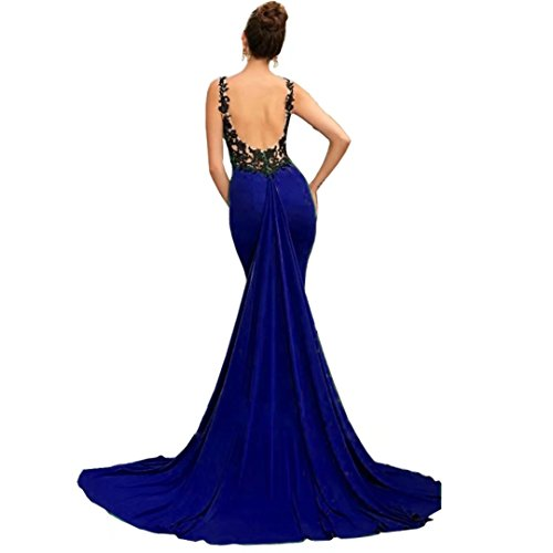 Chady Sexy Backless Mermaid Evening Dress Black Lace Appliques Fashion Prom Dress 2017 Long Party Gowns by Chady