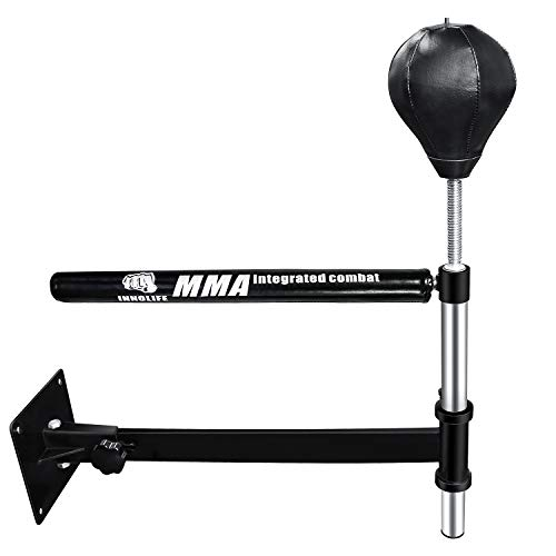 INNOLIFE Wall Mount MMA Boxing Speed Trainer Punching Spinning Bar with Punching Ball