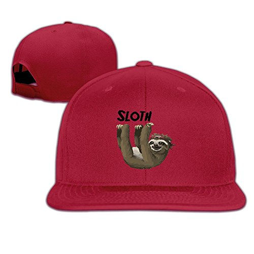 Nquqiyilu Men Sloth Classic Football Red Hat Adjustable Snapback