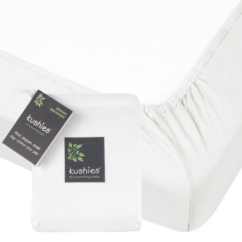 Kushies Organic Jersey Crib Fitted Sheet, White